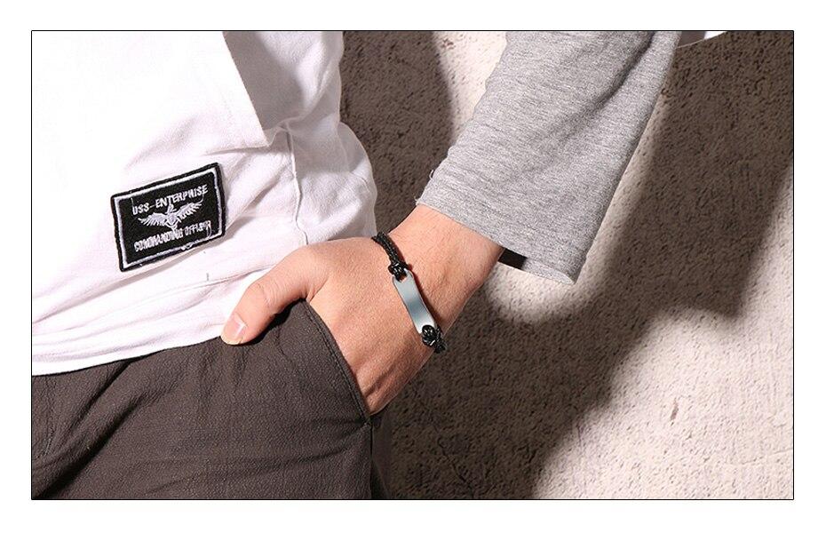 Meaeguet Black Pu Leather Medical Alert ID Bracelet Free & Laser Personalized Stainless Steel Charm Bracelet & Bangle (3)