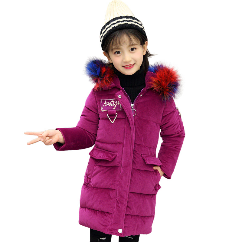 2017 Girl Winter Clothes Children Large Fur Collar Hooded Coat Velvet Outwear For Girls Thicker Clothes Warm Long Coats<br>