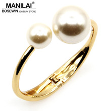 MANILAI Fashion Charm Bracelets For Women Accessories Imitation Pearl Cuff Bangles Statement Jewelry Wholesale Gift pulseiras