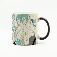 2017 Rick and morty Coffee mugs Unicorn heat changing color mug milk cup Christmas gift Magic ceramic heat sensitive Cups 11 oz(China)