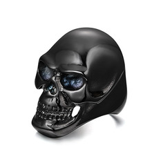 Newest Coming Gothic Mens Biker Stainless Steel Ring Fashion Black Skull Cool Man Finger Ring(China)