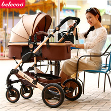 Free Shipping Belecoo High landscape Luxury Baby Stroller 0-36 Months Stroller Inflatable Natural Rubber Wheel Baby Carriage(China)
