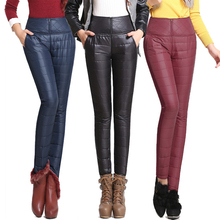 2016 New Winter Pants High Waisted Outer Wear Women Fashion Slim Warm Windproof Plus Velvet Thick Down Pants Trousers