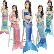 2017 New Kids Girls Mermaid Tail Mermaid Costume Halloween Cosplay Costume Multiple Colour Gift For Children Swimsuit Bathing(China)