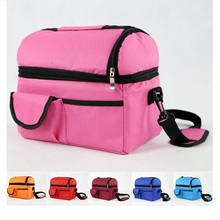 2017 New solid 6 colors zipper Thermal food Lunch Box Carry Tote Travel Picnic Pouch food cool warm item organizer big capacity