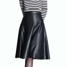 4XL Women Faux Leather Skirt Plus Size A-line Skirt Knee Elegant Leather Pu  Skirt Midi High Zipper Office High Waist Skirts 2018 85cc5df55d23