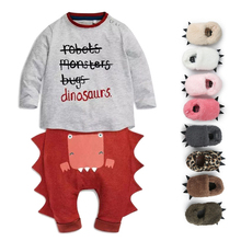 2017 Free Gifts With The Dinosaur Modelling Design Baby Romper Unique Personality Warm Winter Baby Clothes Sets