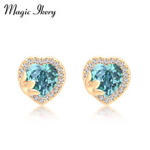 Magic Ikery 4 Color Select Heart Earrings Fashion Stud Earrings Jewelry Wholesale For Women Birthday Gift SY-E00153
