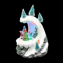 Christmas Decor Gift Snow Mountain Rotating Figurines and Christmast Tree with Led light, Music(China)