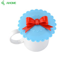 1pcs Cute Bow-knot Silicone Cup Cover Coffee Suction Seal Lid Cap Airtight Love Creative