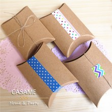 10pcs Favor candy Box bag New craft paper Pillow Shape Wedding Favor Gift Boxes pie Party Box bags eco friendly kraft promotion(China)