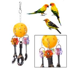 Parrot Bird Toys Plastic Ball Acrylic Metal Biting Toy Strings Pet Small Birds Cockatiel Parrot Toys Accessories Cage Decor(China)