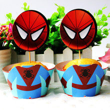 spiderman theme 24pcs Cupcake Wrapper Toppers happy birthday party Supplies cake accessory Dessert shop cake decoration