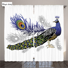Curtains Made In Russia Peacock Decor Feathers Animal Pattern White Brown Green Blue Living Room Bedroom 2 Panels Set 145*265 sm