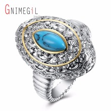 GNIMEGIL Brand Jewelry Women Oval Shape Blue Stone Ring Women's Turquoises Ring Gypsy Setting Ring Classic Ring for Party
