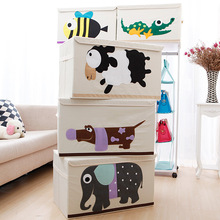 Cute Non-Woven Fabric Toy Organizer Storage Box Children's Toy Books Sundries Shoes Clothing Big Storage Box With Cap 62*36*38cm
