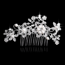 Charm Flower Rhinestone Hair Slide Floral Head Piece Pearl Wedding Hair Comb Clip Crystal Bridal Hairpin Jewelry Hair Accessory(China)