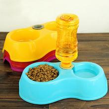 2016 Tableware Dog Feeder Food Bowl Pet Colorful Cat Double Dishes Plastic Automatic Water Drinking(China)