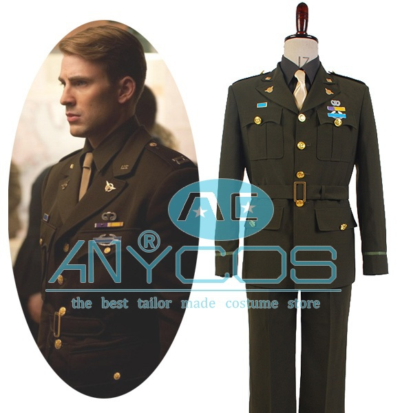 Captain America Steve Rogers WWII Army SSR Uniform Outfit Movie Men Army Uniform Cosplay Costume Full Sets