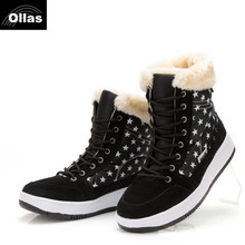 Ollas 2017 Women Winter Shoes Fashion Snow Boots Fur Lining Lady Short Shoes Plus Big Size Women Ankle Boot  YSO985