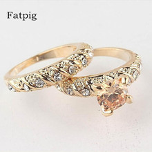 Fatpig Fashion women rings 2Pcs/Set  Gold Filled Round Cut Wedding Engagement Solid Ring Set Size 7 8 9