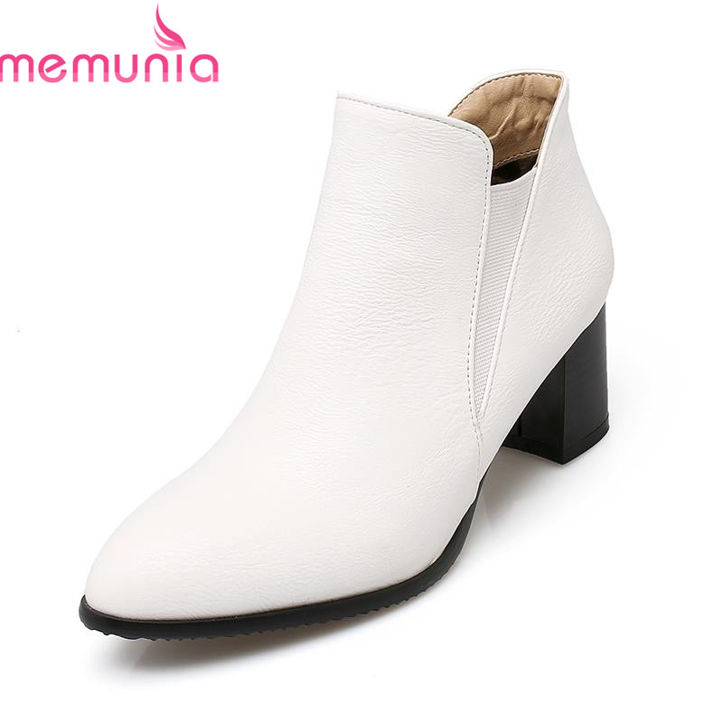 MEMUNIA Pointed women ankle boots new arrival the queen van solid autumn plain soft pu leather  Attract eyeball boots<br>