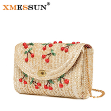 XMESSUN Brand Summer Cherry & Bananas Straw Messenger Bags Woven Day Clutch Flap Bag Beach Package Crossbody Chain Bags L160