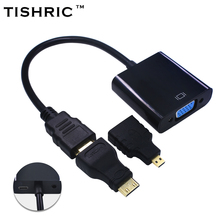 TISHRIC for HDMI to VGA Cable Adapter With Power Supply Cable + Mini Micro for HDMI Connector HD 1080P For PS3/4 HDTV Projector