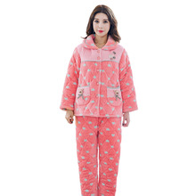 The New Winter Women Long-sleeved Flannel Pajamas Set Catoon Print Comfortable Soft Coral Velvet Leisure Ladies Pyjama M-XXL(China)