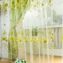 Newest Pastoral Sunflower Tulle Voile Window Curtain Drape Panel Sheer Scarfs Valances Window Scarfs