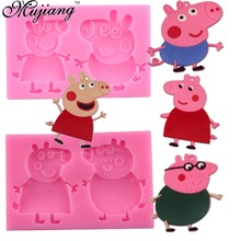 Silicone Cake Mold Cartoon Pink Pig Young Girl Fondant Cake Decorating Tools Candy Clay Molds Cookie Cupcake Chocolate Baking