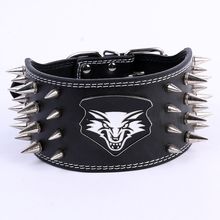 High quality collar Sharp Spiked Rivets Studded Leather with wolf head design big Dog Collars pet Anti-bite collar dog neck band(China)