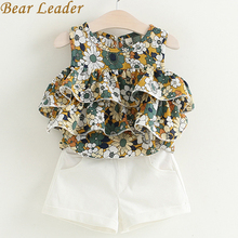 Bear Leader Girls Sets 2017 New Popular Girl Children Clothing Sets Kids Sleevelessl O-Neck Floral Shirt+ White Pants 2Pcs Suit