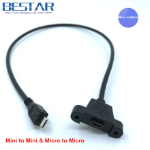 Micro-USB 5pin Micro USB 2.0 & Mini-USB 5pin Mini USB 2.0 Male to Female connector adapter Cable 30cm 50cm With Panel Mount Hole
