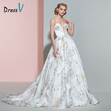 Dressv sweetheart printing wedding dress ball gown court train floor length zipper up long wedding dresses vintage bridal gown(China)
