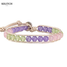 KELITCH Jewelry 1Pcs Colorful Synthetic Light Purple Green Stone Wrap Bracelet White Leather Chain Fantastic Friendship Bracelet(China)