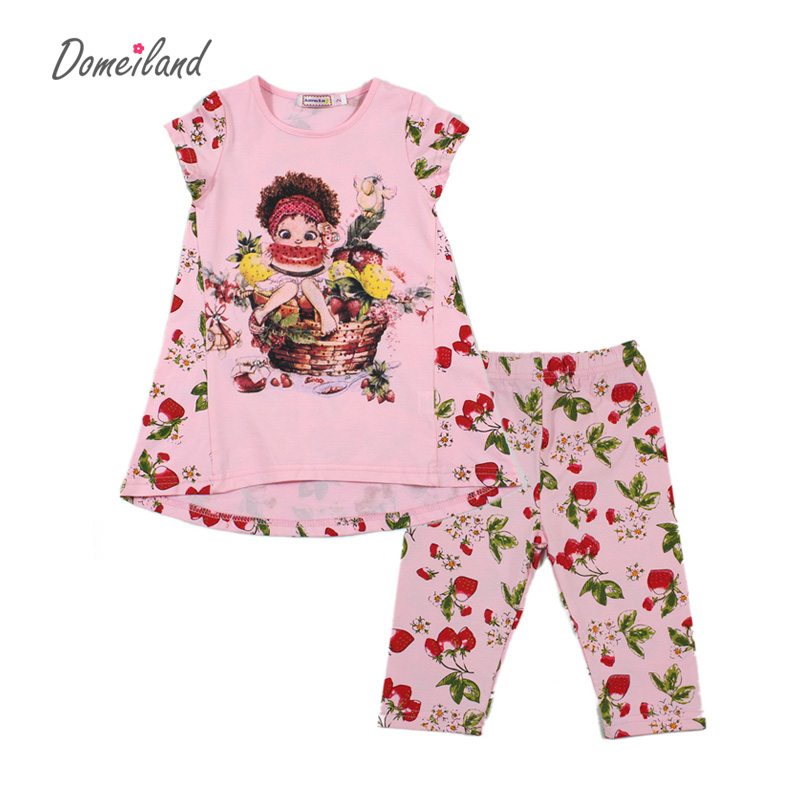 2017 fashion summer brand domeiland  children clothing girls outfits sets short sleeve cartoon shirts floral pant clothes suits<br><br>Aliexpress