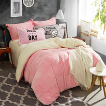 Bedding set quilt cover hometextile Solid color thickening coral fleece 4pcs bedding pink white queen king duvet cover bed sheet