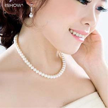 Womens jewellery colliers big chain simulated pearl necklace bridal jewelry necklace female white wedding gifts pearl necklace(China)