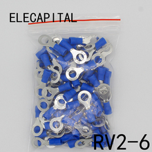 RV2-6 Blue Ring insulated terminal Cable Wire Connector 100PCS/Pack suit 1.5-2.5mm Electrical Crimp Terminal RV2.5-6 RV(China)