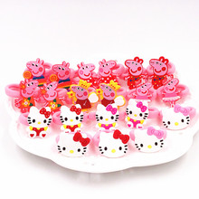 8/10PCS/Lot Lovely Kids Rubber Headbands Soft Fabric Pink Pig Hello Kitty Girls Children Hair accessories Hair Elastic Hair Band