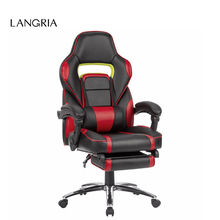 LANGRIA Ergonomic High-Back Faux Leather Racing Style Reclining Computer Gaming Executive Office Chair with Padded Footrest(China)