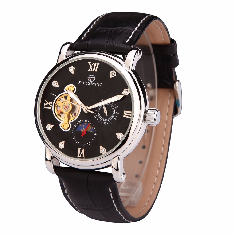 FORSINING Fashion Men Mechanical Watches Hot Male Leather Band Watches Men Auto-Date Tourbillon Wristwatches Relogio Masculino<br>
