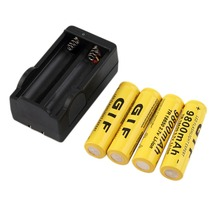 New 4pcs 18650 Rechargeable Li-ion Batteries 3.7V 9800mAh Lithium Li ion Bateria with 18650 Battery Charger Yellow Wholesale