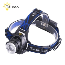 Cheap 2000LM T6 LED Head Front Torch Flashlight 18650 Operated Light+ EU US Plug Charger Aluminum alloy + plastic + rubber(China)