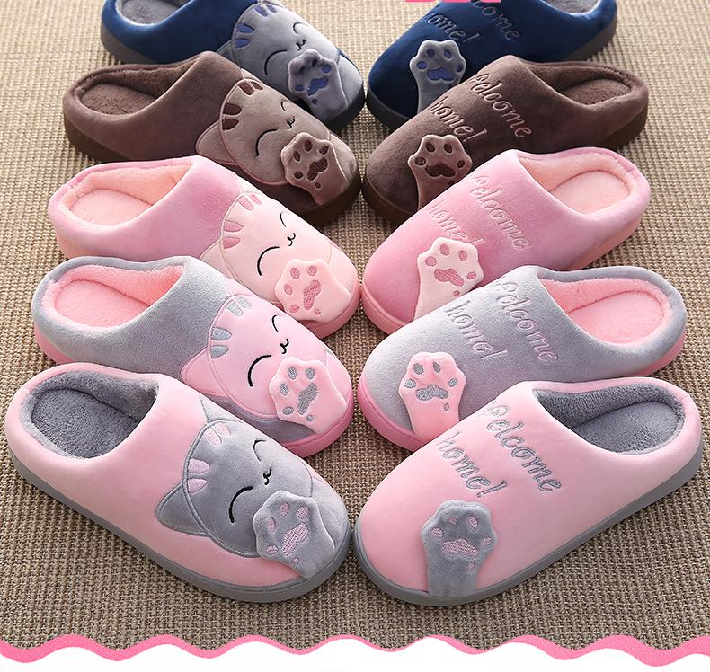 Winter Home Slippers Cartoon Cat Home Shoes Non-slip Soft