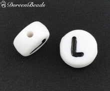 "DoreenBeads 500Pcs Acrylic Alphabet/Letter ""L"" Flat Round Spacer Beads 7mm(B08339)(China)"
