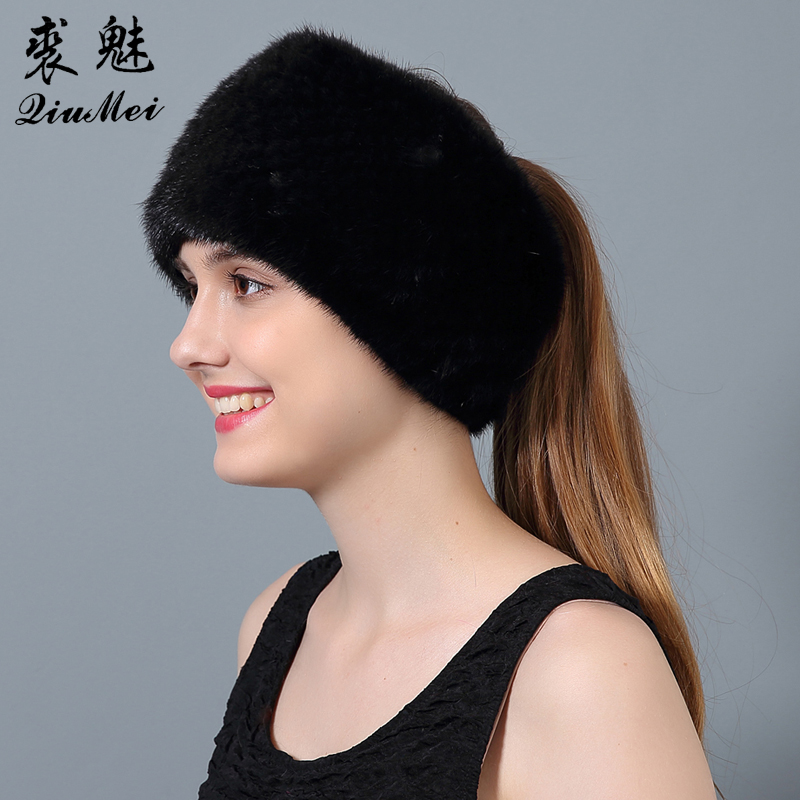 QiuMei Women Genuine Fur Hats Winter Knitted Hat Wider 2017 Newest Female Real Fur Beanies Warm Dual-use Scarves Hats  Îäåæäà è àêñåññóàðû<br><br>