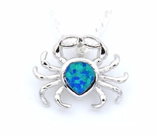 2017 Beach Edition Ocean Blue Crab Opal Pendant Necklace Free Wave Chain Free ePacket Dropshipping(China)