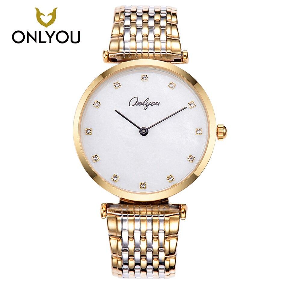 ONLYOU Men Watches Rose Gold Stainless Steel Band Lover Watch Diamond Quartz Watch Waterproof Wristwatch Women Watches <br>